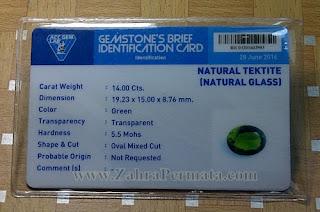 Batu Permata Green Tektite + Memo - ZP 849