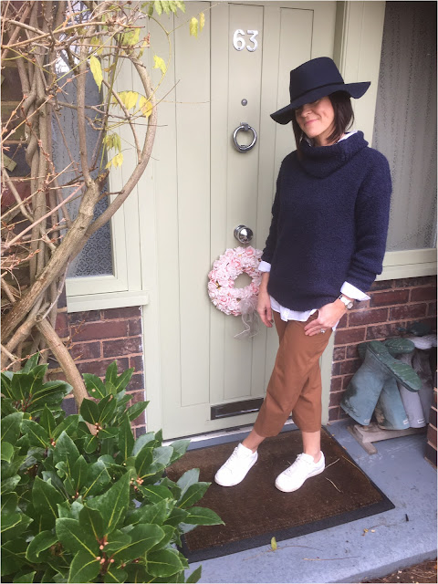 My Midlife Fashion, Zara Felt Hat, H and M Boyfriend Shirt, Great Plains Boucle Roll Neck Jumper, Zara culottes, Mango white leather trainers