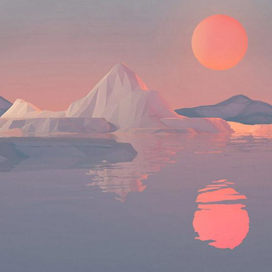 IceCaps Sunset Wallpaper Engine