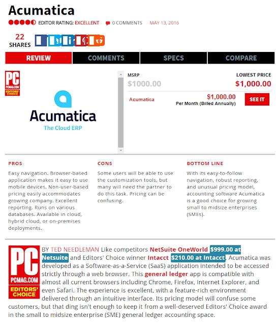Acumatica is PCMag's Editor Choise