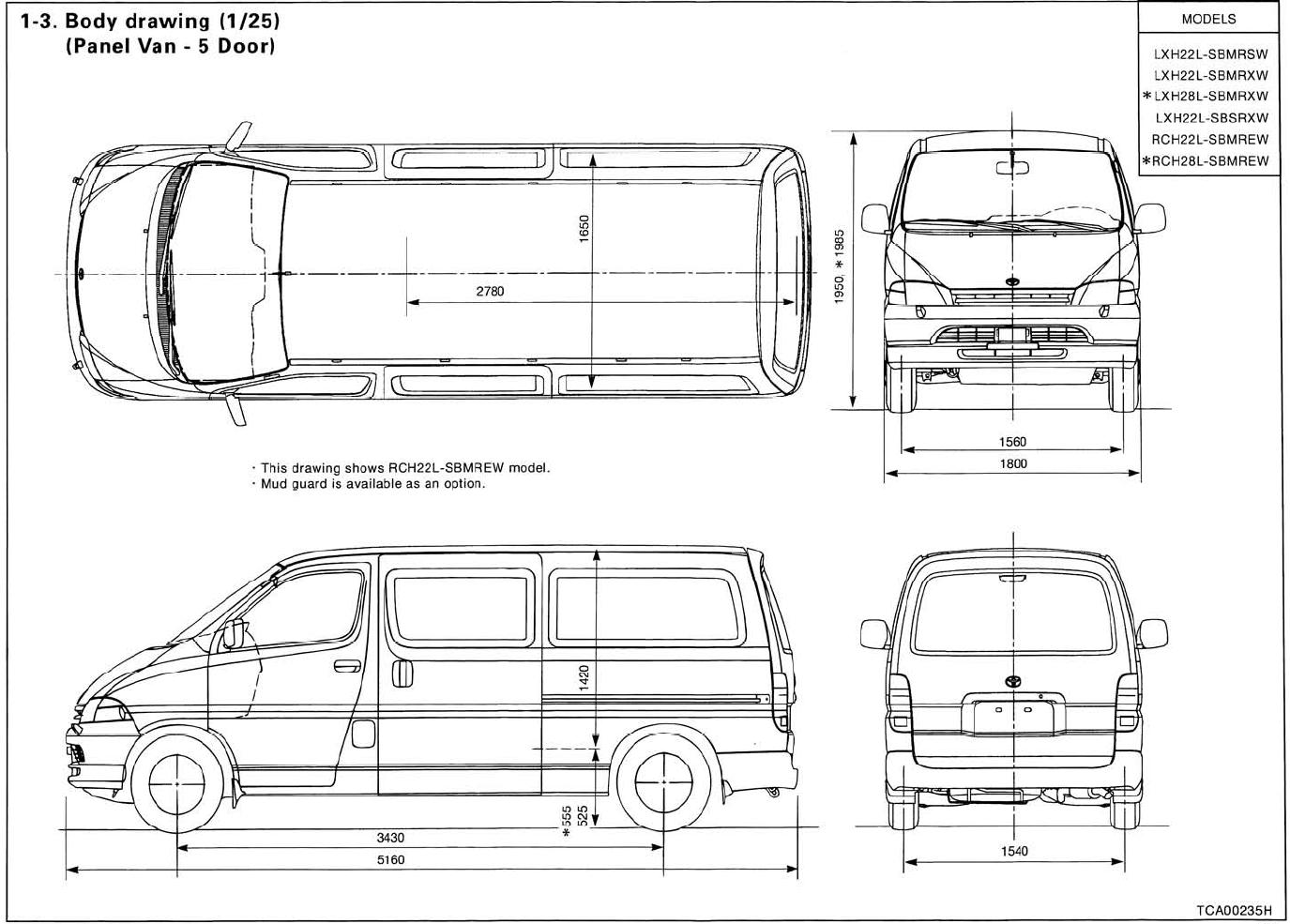 Toyota Hiace Dimensions