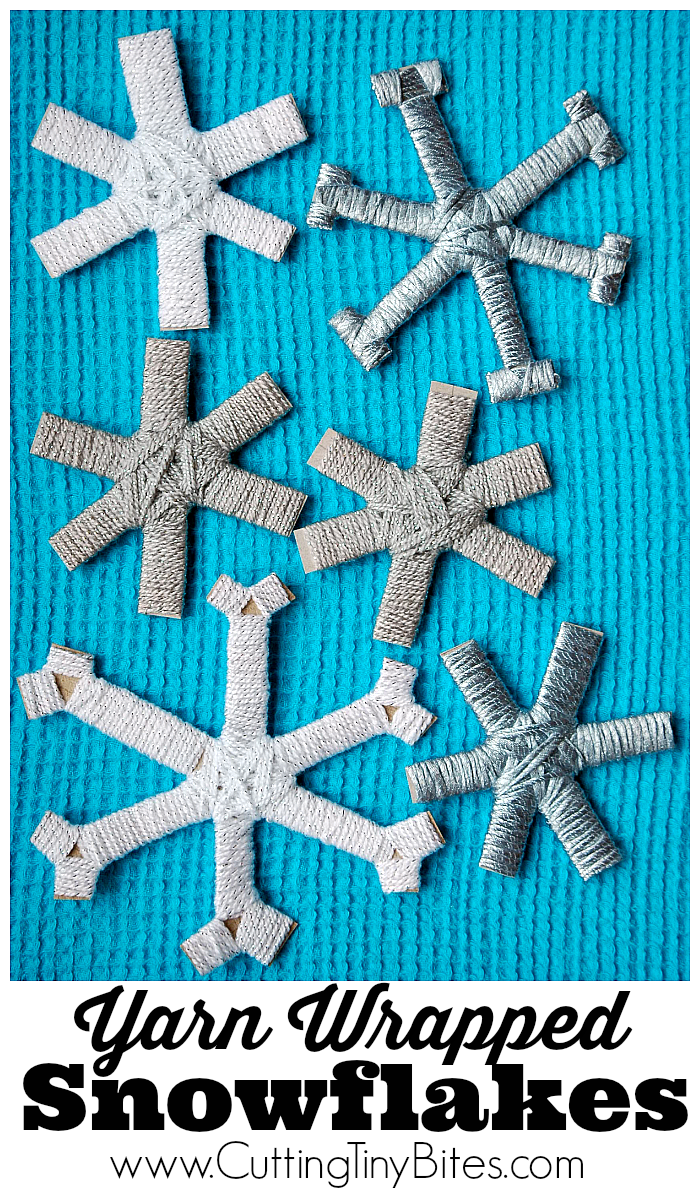 Yarn Wrapped Snowflakes. Fine motor winter or snow craft for preschoolers or older children.