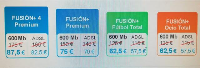 Precio paquetes fusión a mitad de precio para clientes MásMóvil y Vodafone.