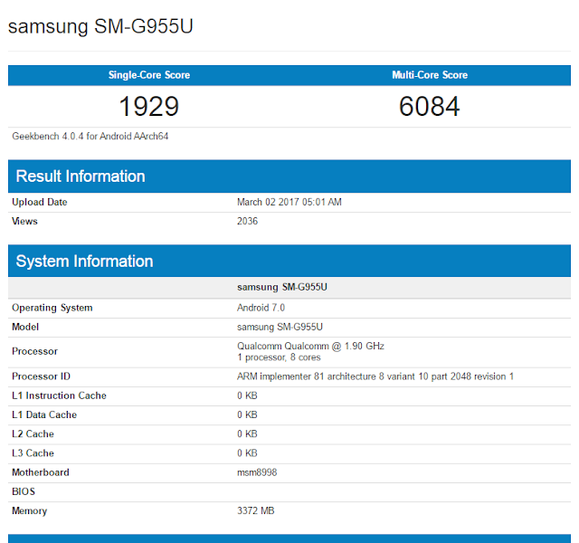Samsung Galaxy S8+ Spotted with SM-G955U Model Number