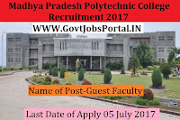 Madhya Pradesh Polytechnic College Recruitment 2017– Guest Faculty