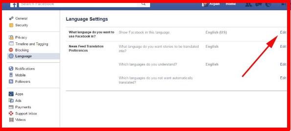 how do i change language on facebook