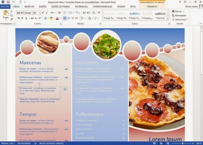 Plantilla para crear un men de restaurante en microsoft for Como crear un restaurante