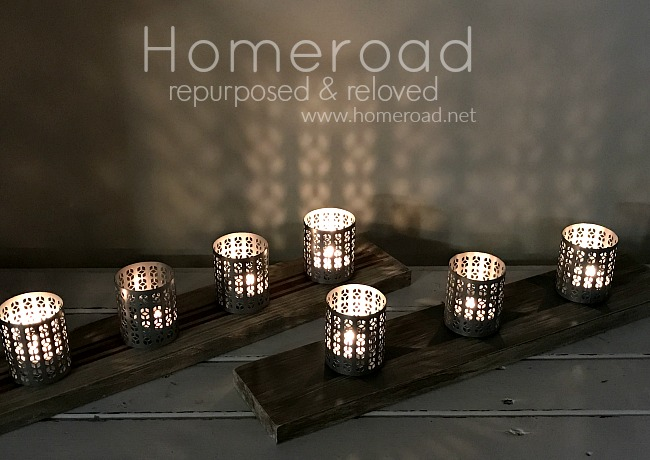Repurposed DIY Tea light candle holders for an outdoor table