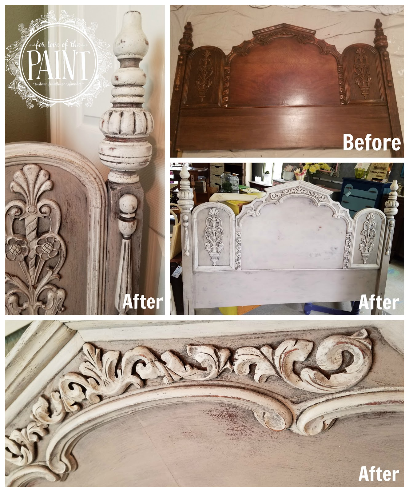 For love of the paint before and after ornate vintage for Painted on headboard