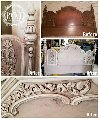 For Love Of The Paint Before And After Ornate Vintage Headboard In Annie Sloan Paloma Paris