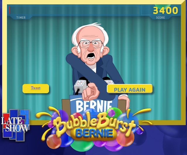 Bernie Bubble Burst high score 3400 game over screen Late Show Stephen Colbert Sanders