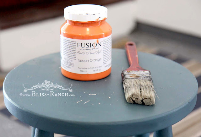 Blue Stool Makeover Fusion Mineral Paint, Bliss-Ranch.com