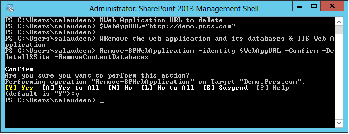 delete sharepoint web application using powershell