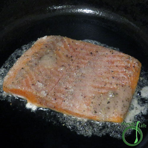 Morsels of Life - Caramelized Salmon Step 3 - Heat a bit of oil in a pan, and cook the salmon for about 5 minutes on each side. (Optional - broil the salmon with a bit of extra sugar/salt/pepper mixture for some extra caramelization.)