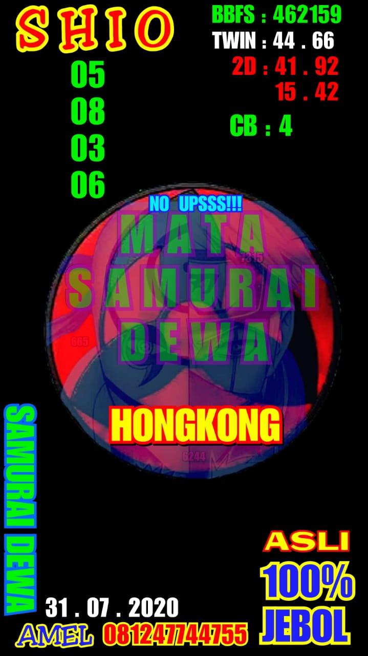 Kode syair Hongkong Jumat 31 Juli 2020 12
