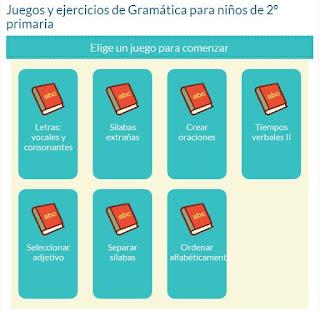 http://www.mundoprimaria.com/juegos-lenguaje/juegos-y-ejercicios-de-gramatica-para-ninos-de-2o-primaria-2/