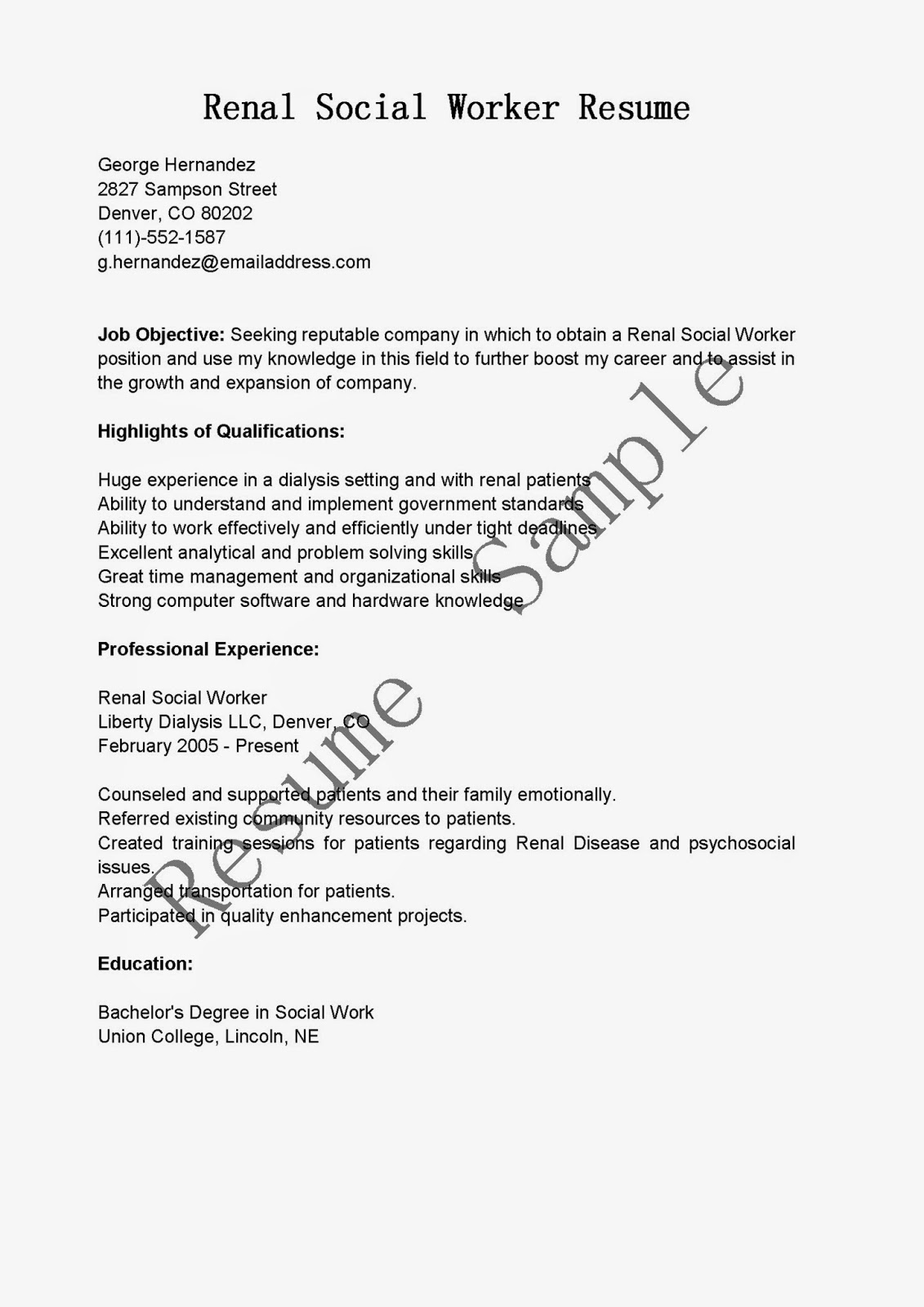 resume samples  renal social worker resume sample