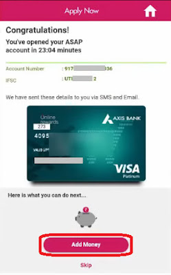 how to open new axis bank asap account online