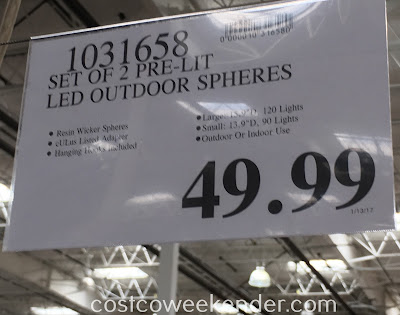 Deal for a set of 3 Inside Outside Garden Lighted LED Spheres at Costco