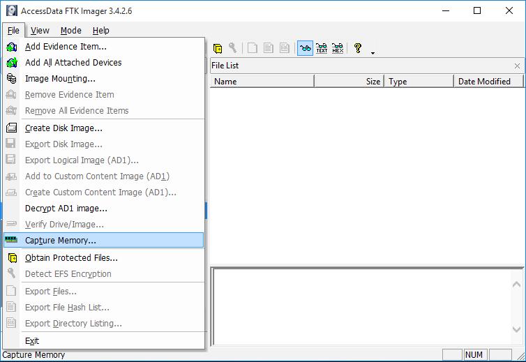 AccessData FTK Imager, Capture Memory...
