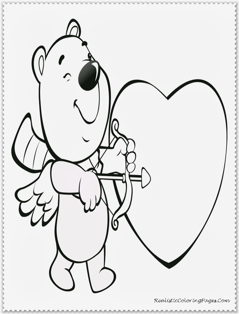 Cupid Kids Valentine Coloring Pages Printable