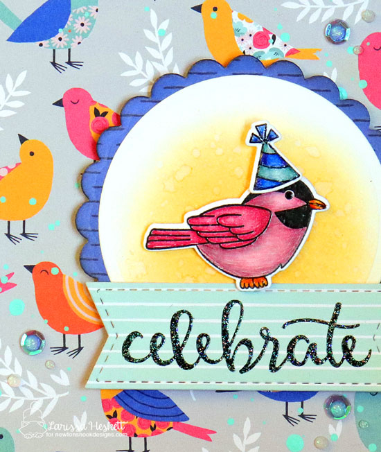 Happy Bird-day Card by Larissa Heskett | Winter Birds and Birthday Essential Stamp Sets by Newton's Nook Designs #newtonsnook #handmade