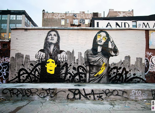 """The Velveteens"" New Street Art dedicated to the memory of Lou Reed - Piece Painted By Fin DAC and Angelina Christina. 1"