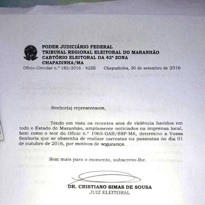 Justiça cancela todas as carreatas do dia 01 de outubro em Chapadinha
