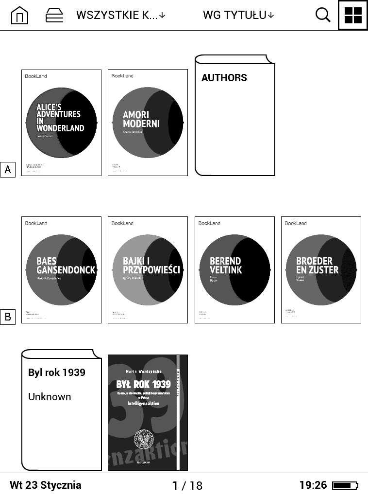 Biblioteka wPocketBook Basic Lux - widok okładek