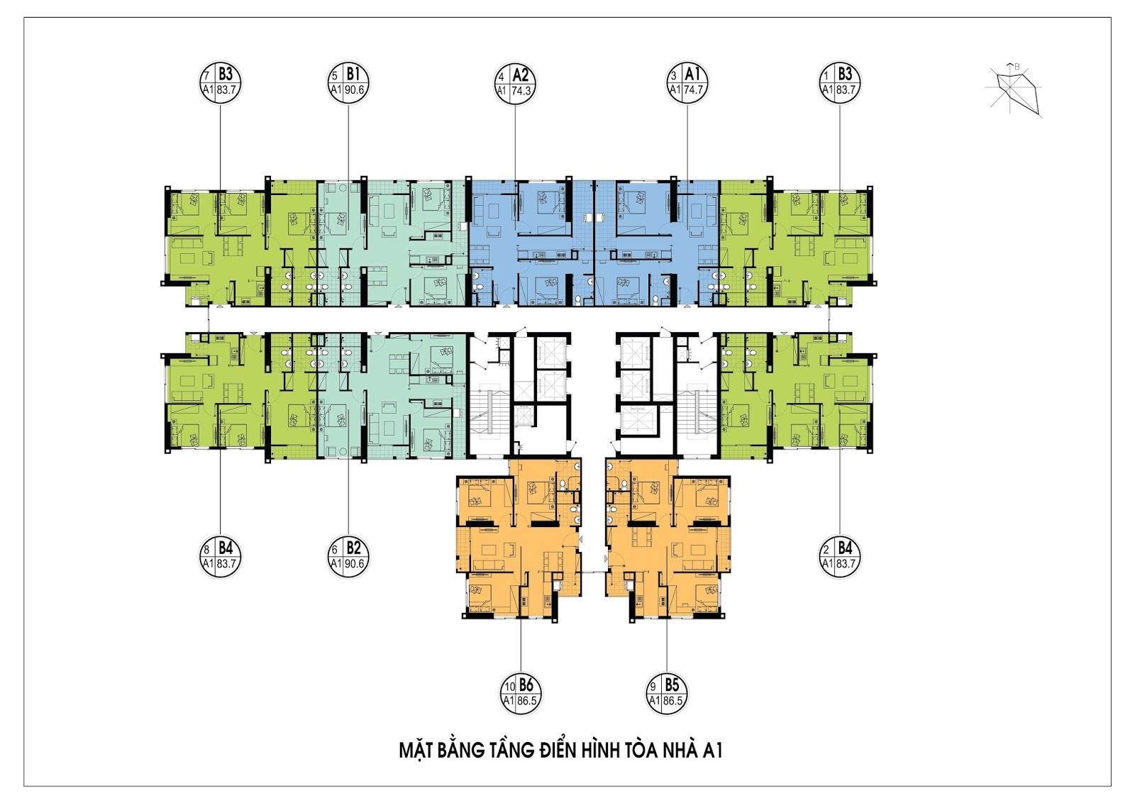 Thiết kế mặt bằng điển hình tòa A1 - An Bình City