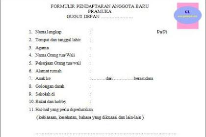 Contoh Formulir Pendaftaran Anggota Pramuka Baru