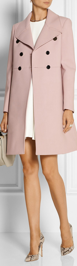 GUCCI Neoprene-Bonded Wool Coat in Pastel Pink