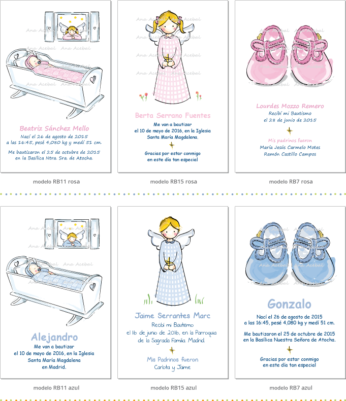 Recordatorios personalizados  Bautizo Nacimiento originales