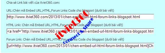 thu thuat blogspot, embed URL Forum HTML code for blogspot post