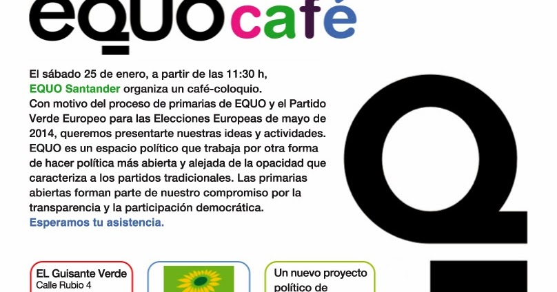 Cantabria  Mañana sábado 25 enero  EQUO-café. Coloquio informativo ... 8531fff1beb