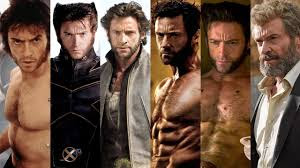 Hugh Jackman through all the Xmen movies as Logan/Wolverine