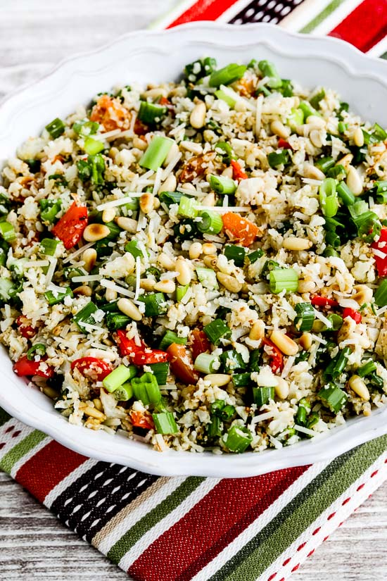 Roasted Cauliflower Rice with Red Pepper, Green Onion, Parmesan, and ...