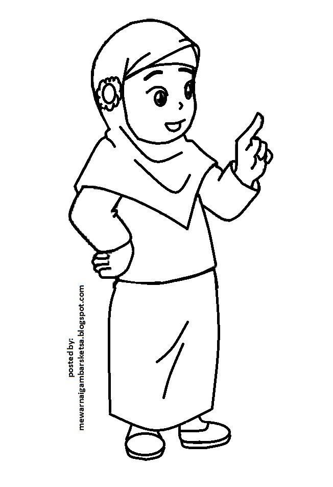Mewarnai Gambar Mewarnai Gambar Sketsa Kartun Anak Muslimah 35