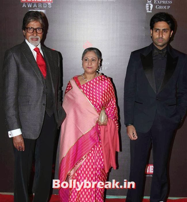 Amitabh Bachchan, Jaya Bachchan and Abhishek Bachchan, Bollywood Wags at Screen Awards 2014