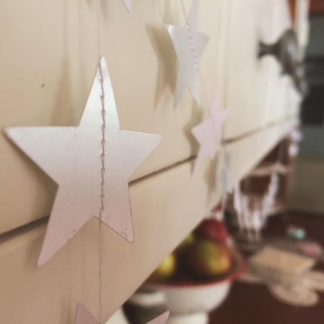 We made paper garlands - stars and circles
