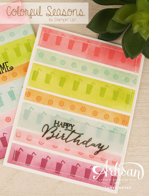 Simple sponging and painters tape to mask these stripes of color. Colorful Seasons stamp set by Stampin Up has something for all seasons. These bring a beach party to mind. Tanya Boser for the Stamp Review Crew
