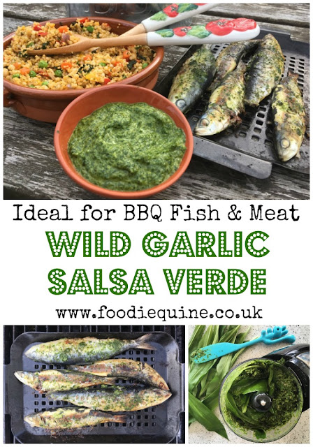 www.foodiequine.co.uk The perfect addition to any barbecued meat, fish or vegetables. This seasonal Salsa Verde is made with Wild Garlic and in this recipe I've served it with Sardines and Couscous Salad. Well worth heading out to the woods and doing some foraging.