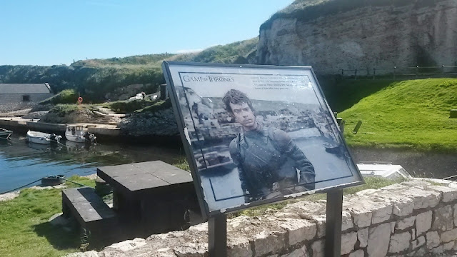 Game of Thrones location sign at Ballintoy Harbour