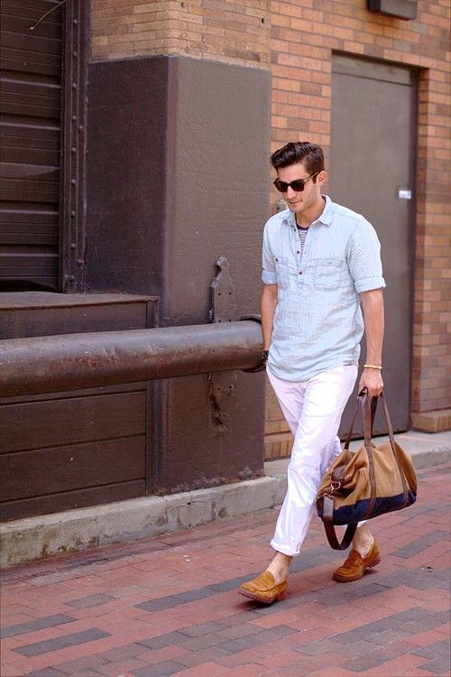 MENS DRESSING STYLES : WHITE COLOUR PANTS LIGHT BLUE TOP ...