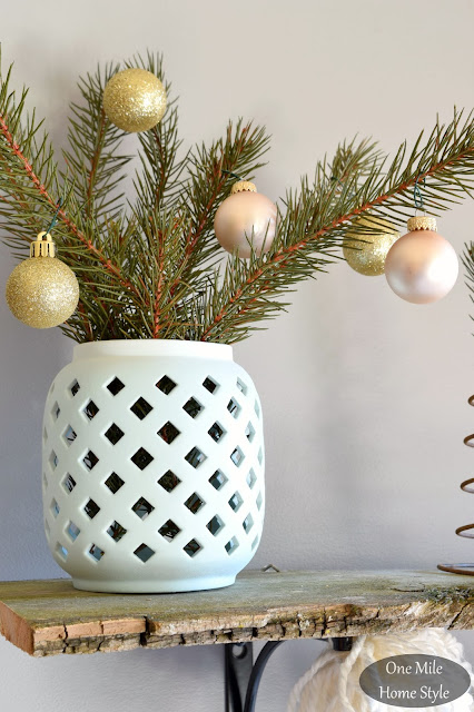 Evergreen Sprigs with Gold Ornaments Shelf Decor | Christmas Home Tour - One Mile Home Style
