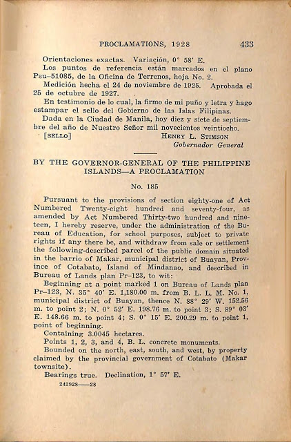 Proclamation No. 184 s. 1928 Spanish version continued.