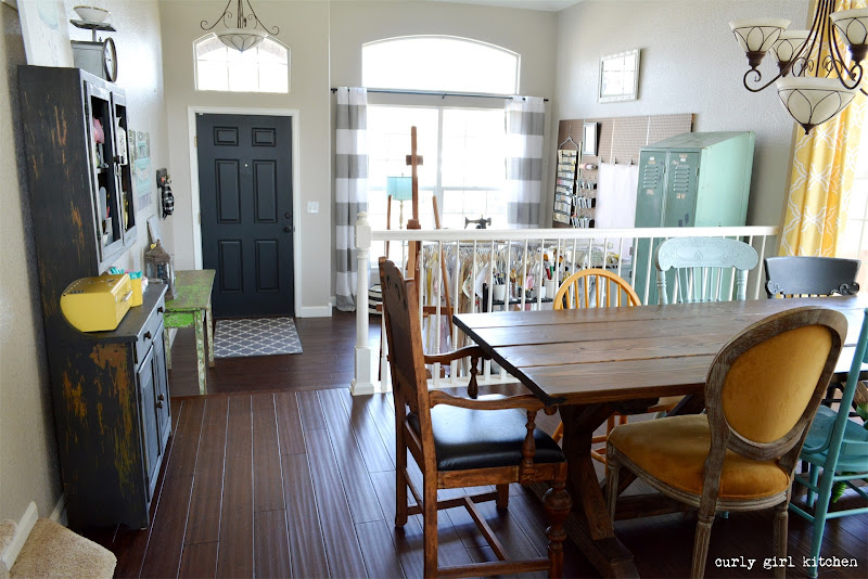 Dining Room, Farmhouse Table, Trestle Table, Vintage, Wood Floors