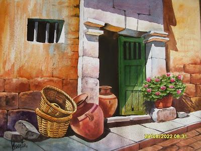 Im genes arte pinturas pinturas paisajes comerciales al leo for Casas modernas con puertas antiguas