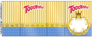 Etiquetas de Corona Dorada en Azul y Amarillo para imprimir gratis.