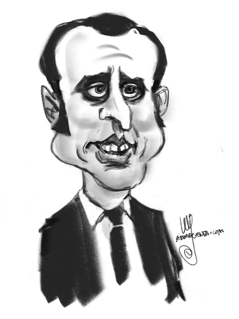 Emmanuel Macron a caricature by Ulf Artmagenta